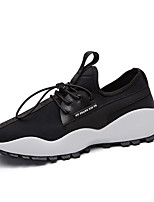 Men's Athletic Shoe Comfort Fall Winter Leatherette Athletic Lace-up Flat Heel Black/Red Black/White Blue Yellow Flat