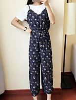 Women's Casual/Daily Simple Summer T-shirt Skirt Suits,Floral Round Neck Short Sleeve