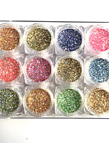 12 Colors Fashion Round Nail Glitter Powder Acrylic Nail Art Set DIY Blue Yellow Pink Shiny Glitters