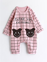 Baby Lattice One-Pieces,Cotton Spring/Fall Long Sleeve