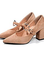 Women's Heels Light Soles PU Summer Casual Dress Buckle Block Heel Camel Black 2in-2 3/4in