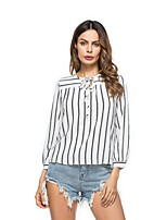 Women's Casual/Daily Street chic Spring Fall Blouse,Striped Round Neck Long Sleeves Polyester Medium