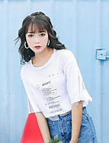 Women's Going out Cute T-shirt,Solid Letter Round Neck Short Sleeves Cotton