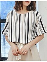 Women's Casual/Daily Simple Shirt,Solid Striped Round Neck Short Sleeves Cotton