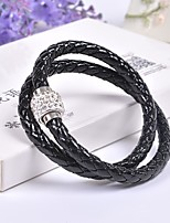 Men's Women's Leather Bracelet Wrap Bracelet Basic Multi Layer Fashion Punk Classic Leather Rhinestone Circle Jewelry For Wedding Gift