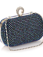 Women Bags All Seasons Polyester Evening Bag Rhinestone for Wedding Event/Party Formal Blue Gold Silver