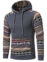 Men's Casual/Daily Vintage Hoodie Color Block Patchwork Hooded Micro-elastic Cotton Acrylic Long Sleeve Fall