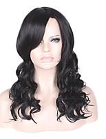 Femme Perruque synthétiques Sans bonnet Long Ondulés Ondulation naturelle Noir Partie latérale Coupe Lutin Perruque Naturelle Perruque de