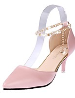 Women's Shoes PU Summer Comfort Heels Stiletto Heel Pointed Toe Pearl Plaid For Casual Blushing Pink Black White