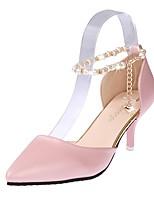 Feminino Sapatos Couro Ecológico Verão Conforto Saltos Salto Agulha Dedo Apontado Pérolas Pregueado Para Casual Branco Preto Rosa claro