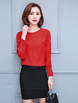 Women's Casual/Daily Simple Blouse,Solid Round Neck Long Sleeves Cotton