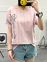 Women's Casual/Daily Cute Summer T-shirt,Embroidery Round Neck Short Sleeves Cotton Medium