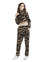 Women's Sports Holiday Going out Casual/Daily Simple Active Sexy Street chic Fall Winter Hoodie Pant Suits,Camouflage Round NeckLong