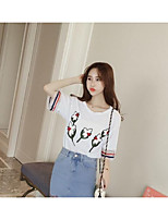 Women's Casual/Daily Sexy Cute Blouse,Solid Floral Print Round Neck Half Sleeves Cotton