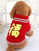 Cane Maglioni Abbigliamento per cani Capodanno Lettere & Numeri Rosso