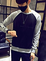Men's Sports Going out Casual/Daily Simple Sweatshirt Solid Round Neck Micro-elastic Cotton Long Sleeve Spring Fall