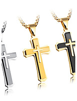 New products Europe and the United States three - story cross necklace titanium steel - iron necklace the boy adornment gift