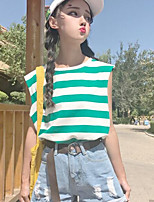 Women's Casual/Daily Simple T-shirt,Striped Round Neck Sleeveless Cotton Others