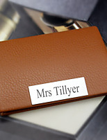 Personalized Graceful Business Brown Card Holder With Leatherette Cover