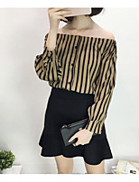 Women's Casual/Daily Sexy Blouse,Striped Off Shoulder 3/4 Length Sleeves Cotton