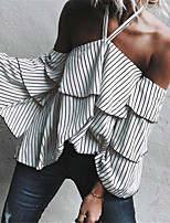 Women's Casual/Daily Street chic Fall Blouse,Striped Halter Long Sleeves Polyester Medium