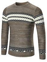 Недорогие -Для мужчин Повседневные На каждый день Обычный Пуловер Контрастных цветов,Круглый вырез Длинный рукав Полиэстер Спандекс Зима Осень