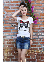 Women's Casual/Daily Cute Summer T-shirt,Print Round Neck Short Sleeves Cotton Medium