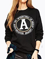 Women's Casual Letter Printing Long-sleeved Loose Sweater Round Neck Cashmere T-shirt