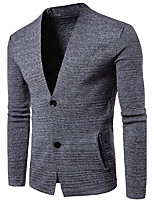 Men's Casual/Daily Simple Long Cardigan,Solid Rainbow Round Neck Long Sleeves Cotton Spring Winter Medium Micro-elastic