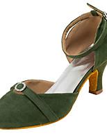 Women's Modern Fleece Sandal Performance Crystals/Rhinestones Cuban Heel Army Green Blushing Pink 2