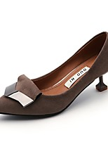 Women's Heels Comfort PU Summer Dress Kitten Heel Gray Beige Black 1in-1 3/4in