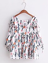 Feminino Camiseta Para Noite Casual Vintage Simples Moda de Rua Primavera Outono,Estampado Seda Algodão Decote V Meia Manga Fina Média
