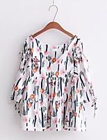 Damen Druck Retro Einfach Street Schick Ausgehen Lässig/Alltäglich T-shirt,V-Ausschnitt Frühling Herbst Halbe Ärmel Seide BaumwolleDünn