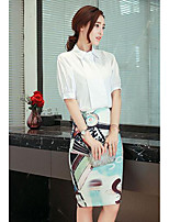 Women's Casual/Daily Work Simple Summer Shirt Skirt Suits,Print Shirt Collar Short Sleeve