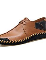 Men's Oxfords Comfort Spring Fall Cowhide Casual Outdoor Office & Career Split Joint Flat Heel Ruby Brown Black Flat