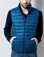 Men's Down Coat,Simple Casual/Daily Solid-Polyester White Duck Down Sleeveless