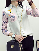 Women's Casual/Daily Simple Shirt,Print Animal Print Shirt Collar Long Sleeves Nylon Others