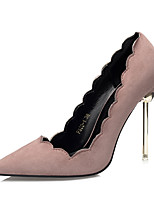 Women's Heels Comfort Suede Fall Dress Stiletto Heel Khaki Light Pink Green Gray Black 4in-4 3/4in