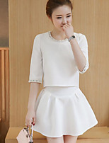 Women's Casual/Daily Simple Spring T-shirt Skirt Suits,Solid Round Neck Half Sleeves