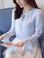 Women's Casual/Daily Work Cute Spring Fall Shirt,Floral Round Neck Long Sleeves Polyester Thin