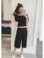 Women's Casual/Daily Simple Summer T-shirt Pant Suits,Solid Round Neck Short Sleeve Inelastic
