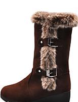 Damen Stiefel Komfort Winter Stoff Normal Schnalle Flacher Absatz Schwarz Braun Flach
