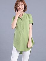 Women's Casual/Daily Simple Shirt,Solid V Neck Short Sleeves Cotton Others