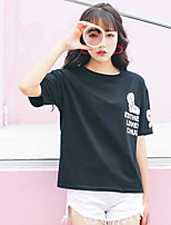 Women's Going out Simple T-shirt,Print Round Neck Short Sleeves Cotton
