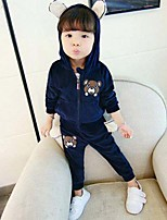 Girls' Solid Sets,Others Spring Fall Long Sleeve Clothing Set