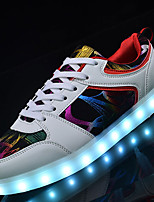 Men's Sneakers Light Up Shoes Fall Winter Leatherette Casual Party & Evening Outdoor LED Low Heel White Black Under 1in