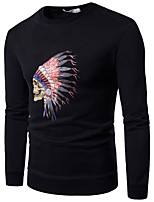 cheap -Men's Daily Sports Casual Chinoiserie Sweatshirt Print Round Neck Micro-elastic Cotton Long Sleeve Spring/Fall