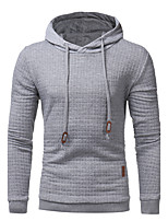Men's Plus Size Casual/Daily Hoodie Solid Hooded Micro-elastic Spandex Long Sleeve Fall Winter