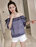 Women's Casual/Daily Simple Blouse,Striped Off Shoulder Half Sleeves Polyester