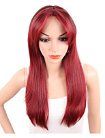 Long Silky Straight Ombre Red Color Wig For Europeana and American Women Tow Tone Color Heat Resistant Synthetic Wigs Middle Part Natural Hair
